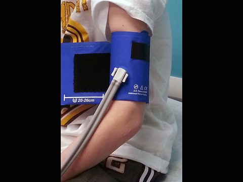 Blood pressure cuff on a child. (American Heart Association)