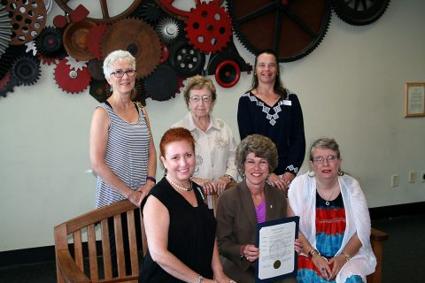 Clarksville Mayor Kim McMillan presents the Constitution Week proclamation to members of the local Daughters of the American Revolution. Taking part are (top, from left) Gail Longton, Barbara Wilbur, Alicia Clark and (bottom, from left) Cynthia Gray, Mayor McMillan and Sheri Ripple.