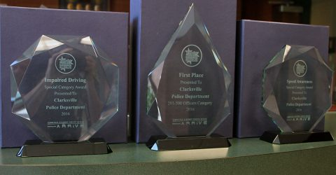 Clarksville Police Department's three awards.