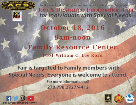 Fort Campbell Army Community Service to hold Job and Resource Information Fair October 18th, 2016.