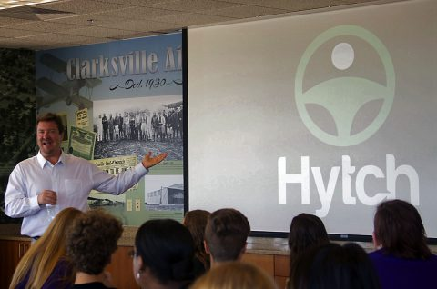 Mark Cleveland, owner and CEO of Hobby Express, co-founder and CEO of Hytch addressing students.