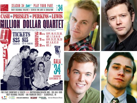 "(clockwise from top left) ""Stephen Shore, Marek Sapieyevski, Oliver Pierce and Nick Abbott star as Johnny Cash, Jerry Lee Lewis, Elvis Presley and Carl Perkins in ""Million Dollar Quartet"" at the Roxy Regional Theatre, September 16th - October 15th"""