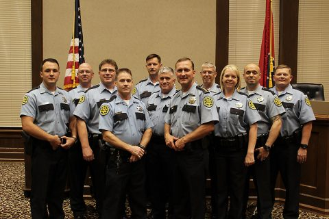 Montgomery County Sheriff John Fuson (center) and the Reserve Deputy Class of 2017.