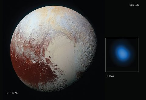 The first detection of Pluto in X-rays has been made using NASA's Chandra X-ray Observatory in conjunction with observations from NASA's New Horizon spacecraft. (X-ray: NASA/CXC/JHUAPL/R.McNutt et al; Optical: NASA/JHUAPL)