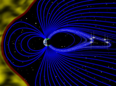An artist's rendering (not to scale) of a cross-section of the magnetosphere, with the solar wind on the left in yellow and magnetic field lines emanating from the Earth in blue. The five THEMIS probes were well-positioned to directly observe one particular magnetic field line as it oscillated back and forth roughly every six minutes. In this unstable environment, electrons in near-Earth space, depicted as white dots, stream rapidly down magnetic field lines towards Earth's poles. There, they interact with oxygen and nitrogen particles in the upper atmosphere, releasing photons and brightening a specific region of the aurora. (Emmanuel Masongsong/UCLA EPSS/NASA)