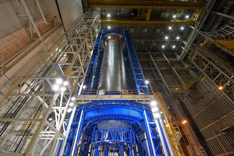 Engineers just completed welding the liquid hydrogen tank that will provide fuel for the first SLS flight in 2018. The tank measures more than 130 feet tall, comprises almost two-thirds of the core stage and holds 537,000 gallons of liquid hydrogen -- which is cooled to minus 423 degrees Fahrenheit. (NASA/Michoud/Steven Seipel)