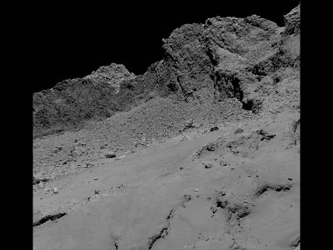 The OSIRIS narrow-angle camera aboard the Space Agency's Rosetta spacecraft captured this image of comet 67P/Churyumov-Gerasimenko on September 30, 2016, from an altitude of about 10 miles (16 kilometers) above the surface during the spacecraft's controlled descent. The image scale is about 12 inches (30 centimeters) per pixel and the image itself measures about 2,000 feet (614 meters) across.