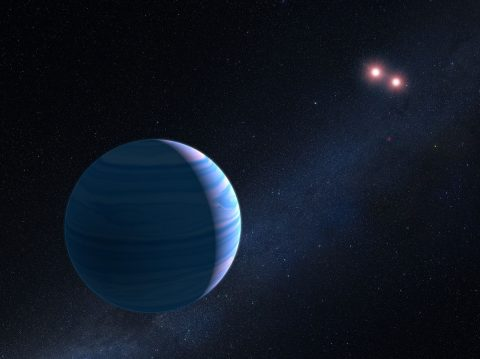 This artist's illustration shows a gas giant planet circling a pair of red dwarf stars in the system OGLE-2007-BLG-349, located 8,000 light-years away. The Saturn-mass planet orbits roughly 300 million miles from the stellar duo. The two red dwarf stars are 7 million miles apart. (NASA, ESA, and G. Bacon (STScI))