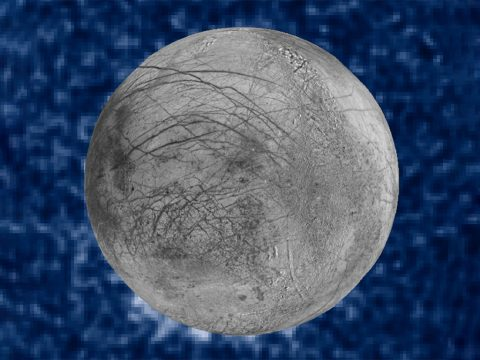 This composite image shows suspected plumes of water vapor erupting at the 7 o'clock position off the limb of Jupiter's moon Europa. The plumes, photographed by NASA's Hubble's Space Telescope Imaging Spectrograph, were seen in silhouette as the moon passed in front of Jupiter. (NASA/ESA/W. Sparks (STScI)/USGS Astrogeology Science Center)