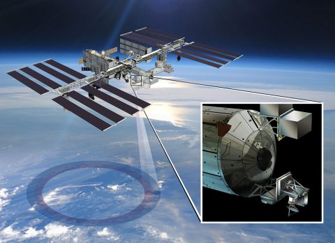 Artist's rendering of NASA's ISS-RapidScat instrument (inset), which launched to the International Space Station in 2014 to measure ocean surface wind speed and direction and help improve weather forecasts, including hurricane monitoring. (NASA/JPL-Caltech/Johnson Space Center)