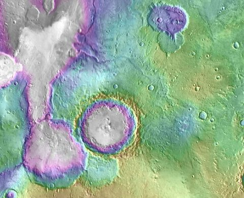 "Valleys much younger than well-known ancient valley networks on Mars are evident near the informally named ""Heart Lake"" on Mars. (NASA/JPL-Caltech/ASU)"