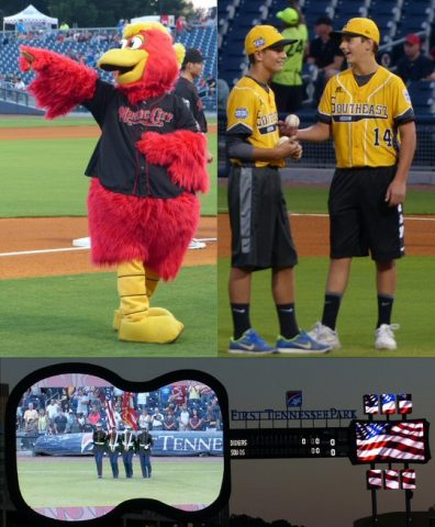 Pre-game activities included Marine Week, the mascot and Little League All-Stars. (Rich Lynch)