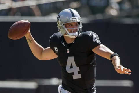 Oakland Raiders quarterback Derek Carr (4) passes the football against the Atlanta Falcons during the first quarter at Oakland Coliseum. (Kyle Terada-USA TODAY Sports)