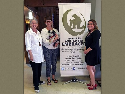 Shown are Dr. Cathy Self, President and CEO of The Healing Trust, Jodi McCullah, SAFE Executive Director, and Briana Lavacot, SAFE Program Director.