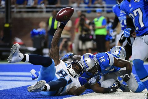 Tennessee Titans wide receiver Andre Johnson (81) scores the game winning touchdown during the fourth quarter against the Detroit Lions at Ford Field. Tennessee won 16-15. (Tim Fuller-USA TODAY Sports)