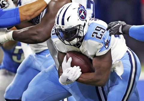 Tennessee Titans running back DeMarco Murray (29) runs the ball during the first quarter against the Detroit Lions at Ford Field. (Raj Mehta-USA TODAY Sports)