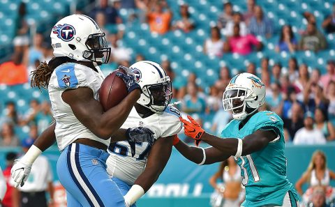 Tennessee Titans running back Derrick Henry (2) scores a touchdown during the first half against the Miami Dolphins at Hard Rock Stadium. (Steve Mitchell-USA TODAY Sports)