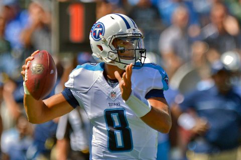 Tennessee Titans quarterback Marcus Mariota (8) throws the ball against the Oakland Raiders during the first half at Nissan Stadium. (Jim Brown-USA TODAY Sports)
