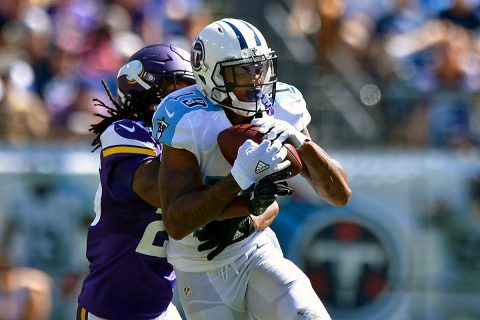 Tennessee Titans wide receiver Tajae Sharpe (19) is tackled by Minnesota Vikings cornerback Jabari Price (25) after catching a pass during the second half at Nissan Stadium. Minnesota won 25-16. (Jim Brown-USA TODAY Sports)