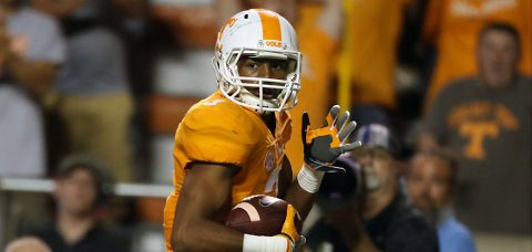 Tennessee's Josh Malone caught a 67-yard TD in the fourth quarter to lead the Vols to a fourth quarter comeback win. ( Craig Bisacre/Tennessee Athletics)