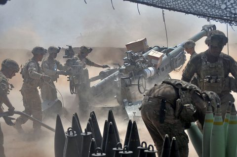 U.S Army Soldiers with Battery C, 1st Battalion, 320th Field Artillery Regiment, Task Force Strike, begin the process to load another round in their M777 artillery piece in northern Iraq, Aug. 15, 2016, during an operation to support the Iraqi army. Battery C is supporting the Iraqi security forces with indirect fires as they retake territory from the Islamic State of Iraq and the Levant. (1st Lt. Daniel I Johnson/Released)