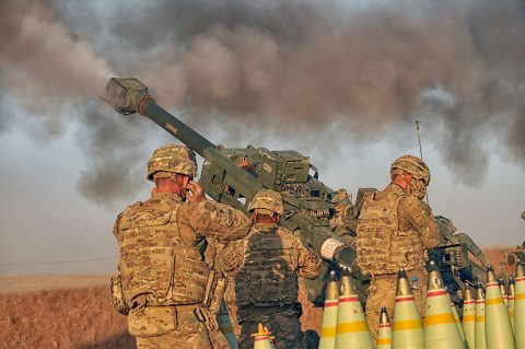 U.S Army Soldiers with Battery C, 1st Battalion, 320th Field Artillery Regiment, Task Force Strike, execute a fire mission in northern Iraq, Aug. 14 2016, during an operation to support the Iraqi army. Battery C is supporting the Iraqi security forces with indirect fires as retake territory from the Islamic State of Iraq and the Levant. (1st Lt. Daniel I Johnson/Released)