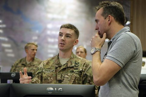 Capt. Griffin Spencer, fire support officer, Combined Joint Forces Land Component Command – Operation Inherent Resolve, briefs Secretary of the Army Eric Fanning on the fires process in the combined joint operations command, Erbil, Iraq, Sept. 18, 2016. This was the second day of Fanning's tour through Iraq, where he visited Soldiers assigned to CJFLCC-OIR to garner firsthand feedback from troops on the ground. (Sgt. 1st Class R.W. Lemmons)