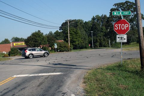 Vehicles move through the Vaughn Road intersection on Martin Luther King Jr. Parkway on a recent morning. The state Department of Transportation and the Clarksville Street Department have announced plans to install traffic signals and turning lanes at the intersection in the coming months.