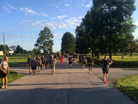 Soldiers from 2123rd Transportation Company from the Kentucky National Guard conduct a road march, Sept. 18, 2016, with senior leaders from 129th Combat Sustainment Support Battalion, 101st Airborne Division (Air Assault) Sustainment Brigade, 101st Abn. Div. during the company's inactive duty training on Fort Knox, KY. (129th Combat Sustainment Support Battalion)