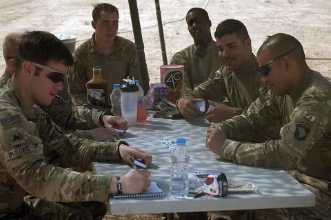 Soldiers with Battery C, 1st Battalion, 320th Field Artillery Regiment, Task Force Strike, enjoy a game of dominoes during down time Sept. 28, 2016, at Kara Soar Base, Iraq. As the deployment has gone on, Soldiers are staying resilient through a variety of different techniques – from games to physical fitness events. (1st Lt. Daniel Johnson)