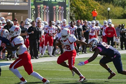 Austin Peay junior runningback Kendall Morris carried the ball 13 times for 103 yards and a touchdown in loss to UT Martin. (APSU Sports Information)