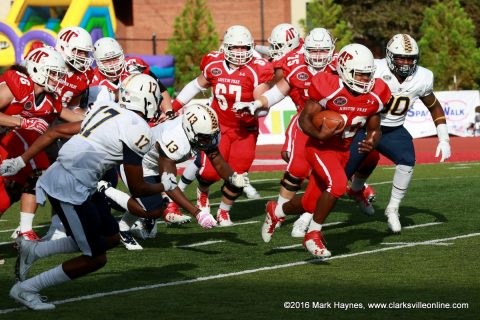 Austin Peay runningback Kendall Morris run for 57 yards on 8 carries.