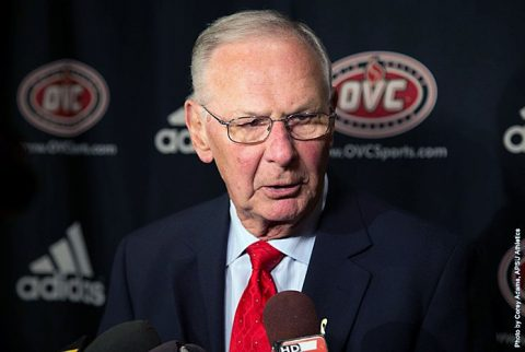 Austin Peay Basketball coach Dave Loos speaks at the 2016 OVC Basketball Media Day in Nashville Tennessee. (APSU Sports Information)