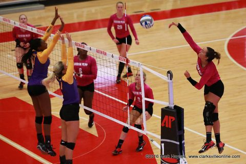 Austin Peay Volleyball's Christina White has 13 kills in Govs win over Tennessee Tech Saturday afternoon.