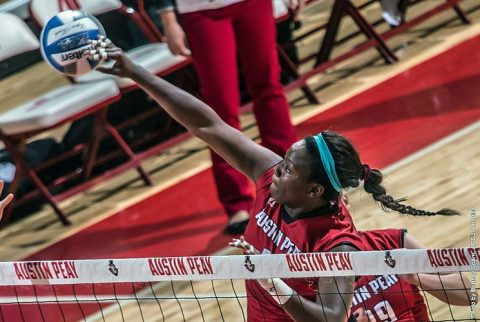 Austin Peay Volleyball's Ashley Slay has 13 kills and 6 bloxk in win at Eastern Kentucky. (APSU Sports Information)