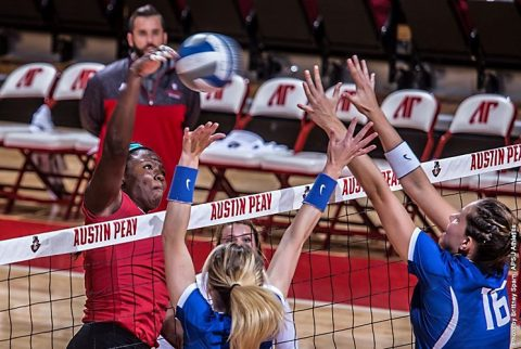 Austin Peay's Ashley Slay nails 22 kills in win over SIU Edwardsville Saturday. (APSU Sports Information)
