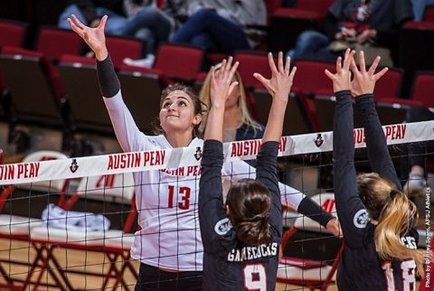 Austin Peay Women's Volleyball remains tied for first in the OVC with win over Jacksonville State Friday night. (APSU Sports Information)