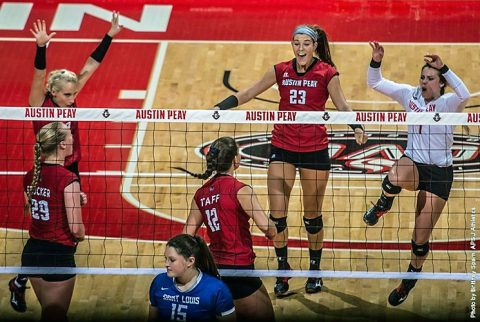 Austin Peay Volleyball wins last three sets to beat Middle Tennessee Blue Raiders. (APSU Sports Information)