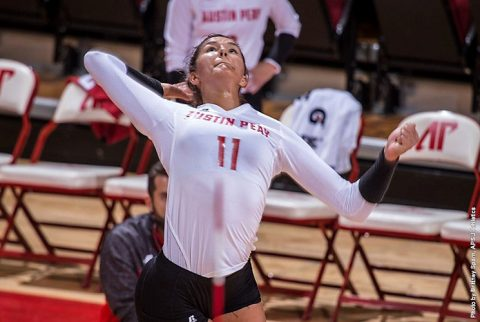 Austin Peay sophomore Christina White had 11 kills in win over Tennessee Tigers Saturday. (APSU Sports Information)