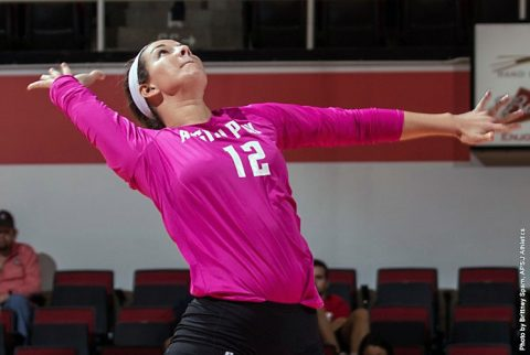 Austin Peay sophomore Kaylee Taff has 10 kills in sweep of Alabama A&M Tuesday. (APSU Sports Information)
