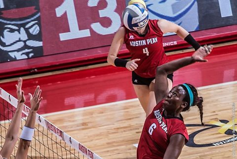 Austin Peay junior Ashley Slay has 16 kills in Volleyball's win over UT Martin Friday night. (APSU Sports Information)