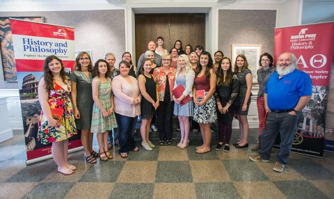 Austin Peay President Dr. Alisa White with the University's Phi Alpha Theta National Honor Society (PAT).