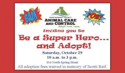 "Montgomery County Animal Care and Control hosts ""Be A Super Hero ... and Adopt!"" on October 29th"