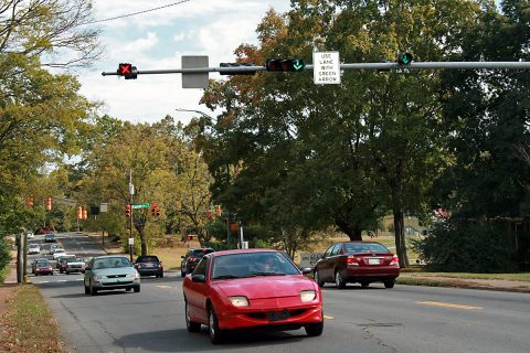 Clarksville motorists use lane direction arrows to navigate Madison Street between Pageant Lane and 10th Street. In the morning the arrows designate two lanes for westbound travel toward downtown. In the afternoon the arrows change and allow for two lanes of traffic heading east out of downtown.