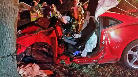 2014 Red Chevrolet Camaro left Tiny Town Road and struck a tree early Saturday morning.