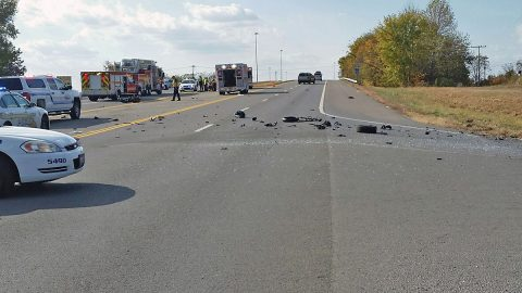 Motorcycle and motor vehicle crash on Warfield Boulevard Sunday afternoon.