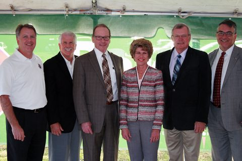 Transportation officials and lawmakers joined Mayor Kim McMillan on Tuesday to celebrate the opening of the new Park & Rider at Exit 11. They are, from left, State Sen. Kerry Roberts, Clarksville City Councilman Geno Grubbs, TDOT Commissioner John Schroer, State Rep. Curtis Johnson, and RTA/MTA CEO Steve Bland.