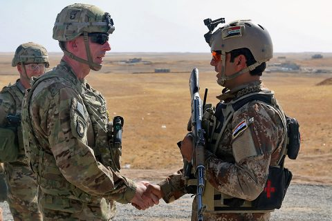 U.S. Army Maj. Gen. Gary J. Volesky, left, commander, Combined Joint Forces Land Component Command – Operation Inherent Resolve, visits with an Iraqi soldier at a tactical assembly area in northern Iraq, Iraq, prior to the start of the Mosul offensive, Oct. 10, 2016. The TAAs are where ISF assembled prior to making their push toward Mosul. (Sgt. 1st Class R.W. Lemmons IV)