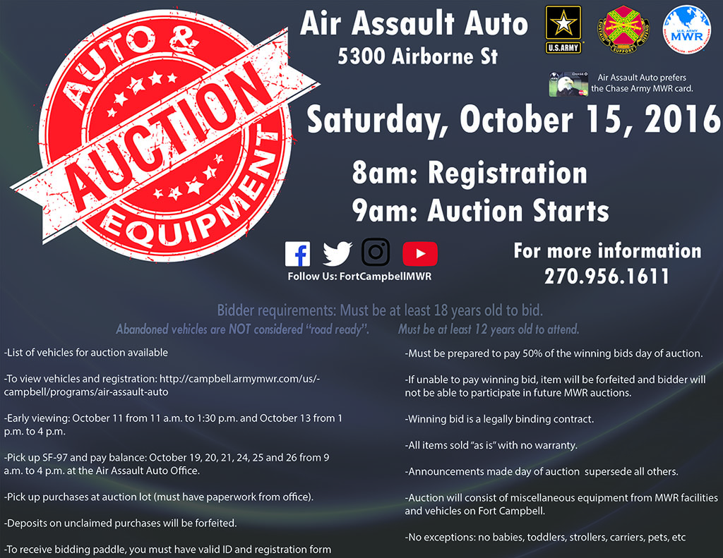 Fort Campbell MWR to hold Abandoned Vehicle & MWR Equipment Open Bid Auction
