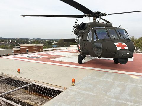 The Tennessee National Guard sent three HH-60 Blackhawks to assist South Carolina recovery efforts as a result of Hurricane Matthew like the one pictured here that landed at Ft. Sander's Regional Hospital after rescuing a patient from a remote area of the Great Smoky Mountains National Park earlier this year.